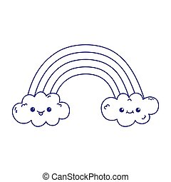 kawaii rainbow clouds cute cartoon isolated icon
