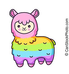 Kawaii rainbow llama. Alpaca. Cute cartoon character.