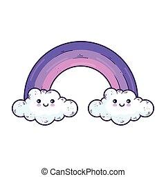 Kawaii rainbow with clouds cartoon vector design