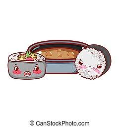 kawaii ramen soup and rice roll food japanese cartoon, sushi and rolls