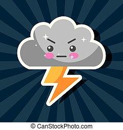 kawaii, rayo, tiempo, tormenta, caricatura, nube