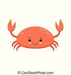 kawaii, reizend, krabbe, format., abbildung, vektor, tier, lächeln, rotes