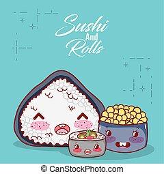 kawaii rice roll soup and caviar food japanese cartoon, sushi and rolls