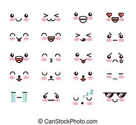 kawaii, rosto, desenho, ícone