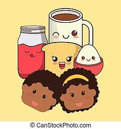 kawaii, rosto, pequeno almoço, crianças, ícones
