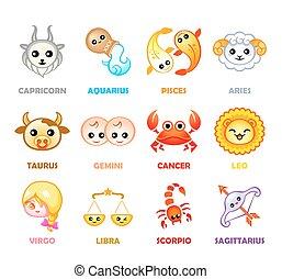 kawaii, símbolos, zodíaco