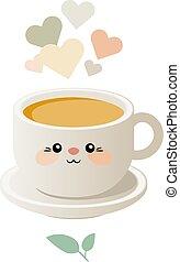 kawaii, söt, kopp, illustration, tea., vector.