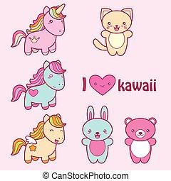 kawaii, söt, stil, sätta, labels., kollektion