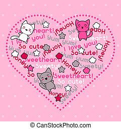 kawaii, schattig, kaart, cats., doodle