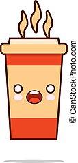 kawaii, schattig, koffie, cup., character., stijl, hand, pictogram, getrokken, het glimlachen, vriendelijk, spotprent