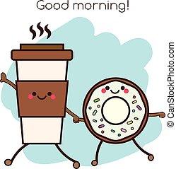 kawaii, schattig, koffie, goed, kop, illustratie, donut, characters., concept, vasthouden, het glimlachen, morgen, vriendelijk, hands.