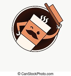 kawaii, schattig, koffiekop, voedingsmiddelen, positief, advetising, dranken, winks., mustachioed, vriendelijk, karakter