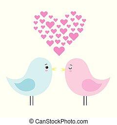 kawaii, schattig, liefde, paar, illustratie, vector, vogels