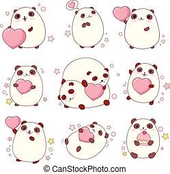 kawaii, schattig, stijl, set, pandas