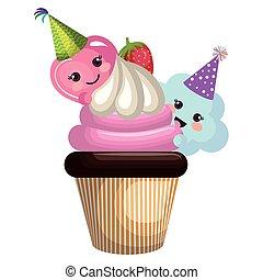 kawaii, schattig, wolken, hart, cupcake, karakters