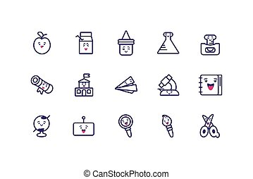 Kawaii school icon set cartoons vector design