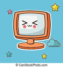 kawaii screen computer image vector illustration eps 10