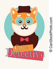 Kawaii shiba dog detective t shirt illustration. Typography slogan vector for t shirt printing
