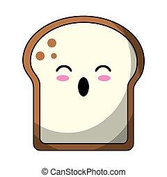 kawaii slice bread bakery vector illustration eps 10