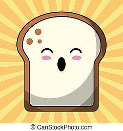 kawaii slice bread image vector illustration eps 10