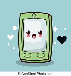 kawaii, smartphone, caractère, dessin animé