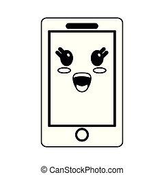kawaii, smartphone, dessin animé, noir, blanc, sourire