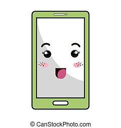 kawaii, smartphone, dessin animé