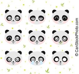 kawaii, smiley, panda