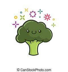 kawaii smiling broccoli cartoon illustration