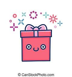 kawaii smiling valentine gift box illustration