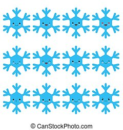 Kawaii snowflake set blue funny face with eyes and pink cheeks on white background. Vector