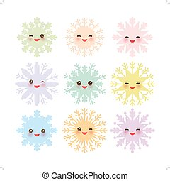 Kawaii snowflake set blue mint orange pink lilac funny face...