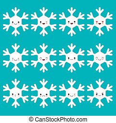 Kawaii snowflake set white funny face with eyes and pink cheeks on blue background. Vector