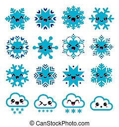 Kawaii snowflakes, clouds with snow