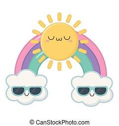 kawaii, soleil, conception, dessin animé