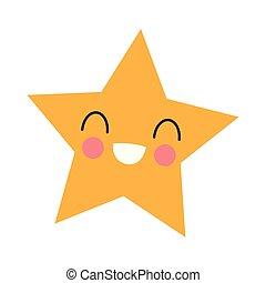 kawaii, sourire, étoile, dessin animé
