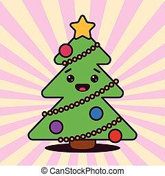 kawaii, sourire, arbre, noël, figure