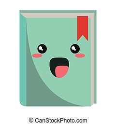 kawaii, sourire, livre, dessin animé, isolé
