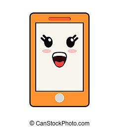kawaii, sourire, smartphone, dessin animé