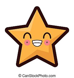 kawaii star icon - flat design kawaii star icon vector...