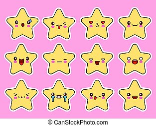 Kawaii stars cartoon character set, face with eyes, yellow color on pink background. Flat design Vector Illustration