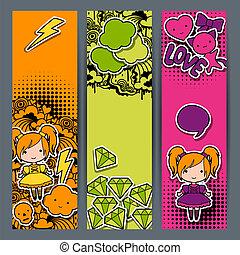 kawaii, sticker, doodles., banieren, verticaal