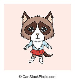 kawaii, strój, kot