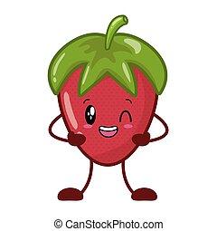 kawaii strawberry cartoon character