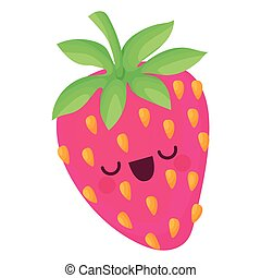 kawaii strawberry with seeds of a pink color