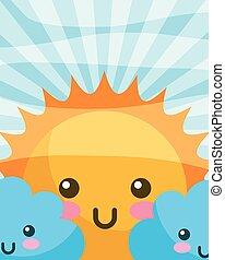kawaii sun clouds happy cartoon