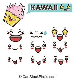 Kawaii tasty cupcake and spare emotional faces set