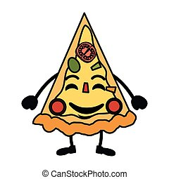 kawaii, tecken, utsökt, pizza