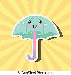 kawaii, tempo, ombrello, cartone animato, felice