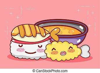 kawaii tempura roll fish and soup food japanese cartoon, sushi and rolls